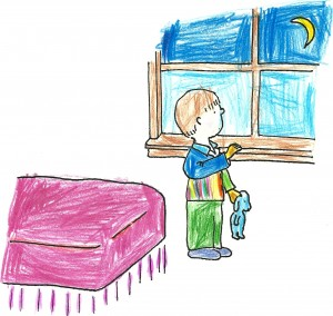 sketch of boy in bedroom