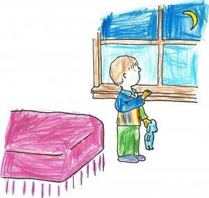 sketch of boy in bedroom