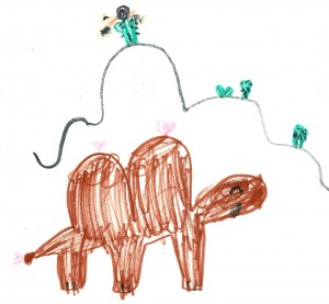 sketch of two humped camel